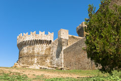 Fortress of Populonia, Tuscany. Populonia fortress, Etruscan city in Tuscany, Italy. Sitting atop a hill surrounded by the sea in the Gulf of Baratti stock image