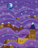 Fortress on purple waves snowy night. High up in the mountains, a beautiful moon in the light of the mysterious star, immersed in clouds of purple princess Stock Photography