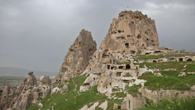 Fortress on the rock in the town of Uchisar stock video