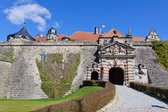 Fortress Rosenberg in Kronach, Germany. The fortress Rosenberg is surrounded by baroque fortress castle overlooking the town of Kronach stock images