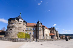 Fortress Rosenberg in Kronach, Germany. The fortress Rosenberg is surrounded by baroque fortress castle overlooking the town of Kronach royalty free stock photo
