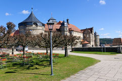 Fortress Rosenberg in Kronach, Germany. The fortress Rosenberg is surrounded by baroque fortress castle overlooking the town of Kronach stock image