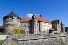 Fortress Rosenberg in Kronach, Germany. The fortress Rosenberg is surrounded by baroque fortress castle overlooking the town of Kronach stock photo