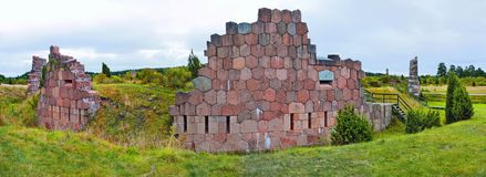 Fortress ruins in Bomarsund Royalty Free Stock Photo