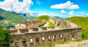 Fortress ruins on the French alps. This ancient fort is located on the Tende mountain pass and was named Fort Central Stock Image