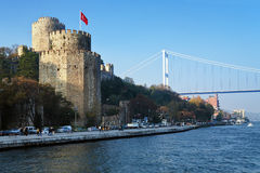 Fortress Rumeli Hisari and Bridge over Bosphorus Royalty Free Stock Photo
