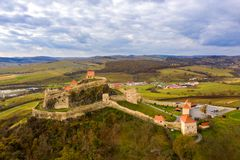 Fortress Rupea in Transylvania. Saxon peasant walled castle between Brasov and Sighisoara stock image