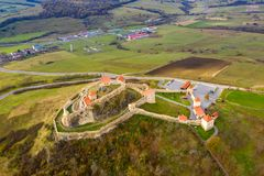 Fortress Rupea in Transylvania. Saxon peasant walled castle between Brasov and Sighisoara stock photo