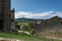 Fortress of San Leo Castle of Cagliostro town area. In Italy Royalty Free Stock Photos