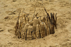 Fortress Sand Castle. In Matagorda, Texas stock photography