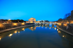 Fortress of Sant Angelo at dusk, Rome, Italy Royalty Free Stock Photos