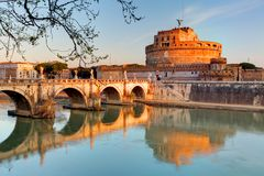 Fortress of Sant`Angelo and its reflection in river Tevere, Rom. Fortress of Sant `Angelo and its reflection in river Tevere, Rome stock photos