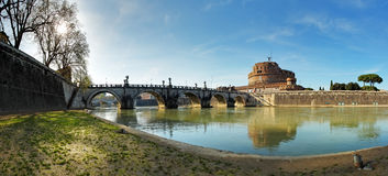 Fortress of Sant'Angelo and its reflection in river Tevere. Rome Royalty Free Stock Photo