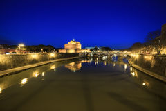 Fortress of Sant Angelo at night, Rome, Italy Stock Photos