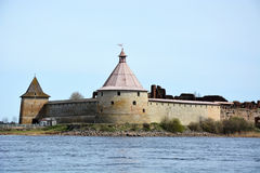 Fortress at Shlisselburg city. Fortress called Oreshek Stock Photo
