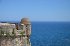 Fortress on the shores of the sea. Fortress on the shores of the azure sea stock photography