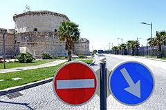 Fortress and signals  in Civitavecchia Royalty Free Stock Image