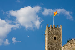 Fortress of skopje macedonia. Fortress of skopje in macedonia with flag under the blue sky royalty free stock image
