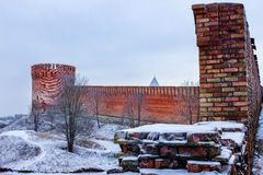 The fortress. Smolensk. Old fortress in the winter in Smolensk, Russia Stock Images