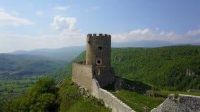Fortress Sokolac - Bihać. The fortress Sokolac is located on the left bank of Una river, three kilometers upstream of the town of Bihać, on a steep limestone Royalty Free Stock Photography
