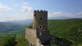 Fortress Sokolac - Bihać. The fortress Sokolac is located on the left bank of Una river, three kilometers upstream of the town of Bihać, on a steep limestone Stock Photo