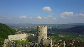 Fortress Sokolac - Bihać. The fortress Sokolac is located on the left bank of Una river, three kilometers upstream of the town of Bihać, on a steep limestone Royalty Free Stock Images