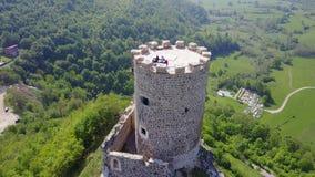 Fortress Sokolac - Bihać. The fortress Sokolac is located on the left bank of Una river, three kilometers upstream of the town of Bihać, on a steep limestone Stock Image