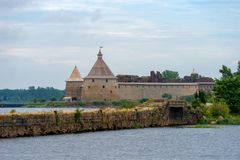 Fortress in the source of the Neva River. Russia, Shlisselburg: Fortress Oreshek. Medieval Russian defensive structure and political prison. Fortress walls and Royalty Free Stock Photos