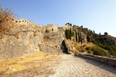 Fortress of St. Ivan Montenegro. The ruins of an ancient fortress of St. Ivan of Kotor. Montenegro stock image