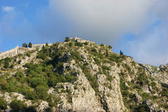 Fortress of St. John in Kotor. Landscape with the castle on the hill (Kotor, Montenegro Royalty Free Stock Photo