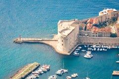 Fortress of St. John Sv. Ivan in Dubrovnik old town. Aerial view of fortress of St. John Sv. Ivan and marina in Dubrovnik old town stock images