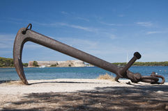 Fortress St. Nicholas with anchor. Island fortress St. Nicholas near Sibenik, Croatia Royalty Free Stock Photography