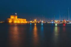 Fortress of St. Nicholas in the evening. Rhodes. Greece Royalty Free Stock Image