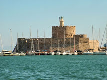 Fortress of St. Nicholas in Rhodes, Greece stock photos