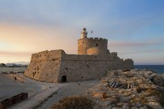 Fort of St. Nicholas in Rhodes Stock Images