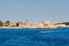 Fortress of St. Nicholas and the waterfront view from the sea. Rhodes Stock Photo