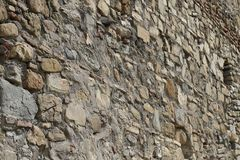 Fortress stone wall near Ananuri church stock photography