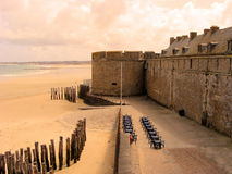 Fortress at sunset. Ancient defensive walls of the city of St. Malo, France Royalty Free Stock Photos