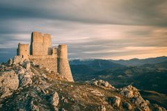 Fortress Sunset. Sunset on Rocca Calascio, a mountaintop fortress built in the 10th century Royalty Free Stock Photo