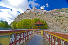 Fortress in Tibet. Garden path in Tibet with an old fortress on the mountain near it Royalty Free Stock Photos