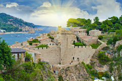 Fortress of Tossa de Mar on the Costa Brava, region of northeast Royalty Free Stock Images