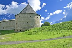 Fortress Tower. In Ancient Russian Capital of Old Ladoga royalty free stock images