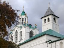 Fortress tower and belfry of Transfiguration Monastery in autumn, Yaroslavl, Russia Stock Images