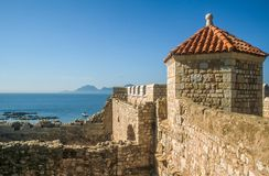 Fortress tower on the Ile Saint Honorat Royalty Free Stock Photos