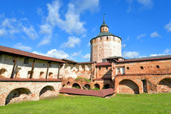 Fortress tower of Kirillo-Belozersky monastery by day. Stock Photos