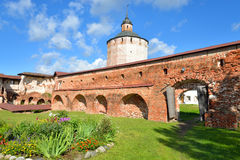 Fortress tower of Kirillo-Belozersky monastery by day. Stock Image