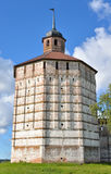Fortress tower of Kirillo-Belozersky monastery by day. Stock Photo