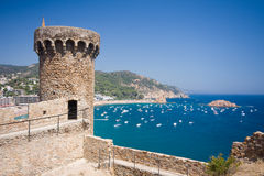 Fortress tower in Tossa de Mar Stock Images