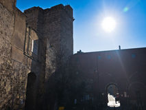 Fortress tower, walls and gates at Castello downtown in Cagliari, Sardinia Stock Photography