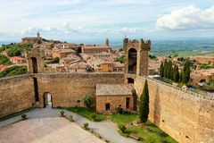 Fortress and town of Montalcino in Val d`Orcia, Tuscany, Italy Royalty Free Stock Photography
